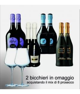 KIT misto 8 bottiglie PROSECCO DOC + 2 CALICI